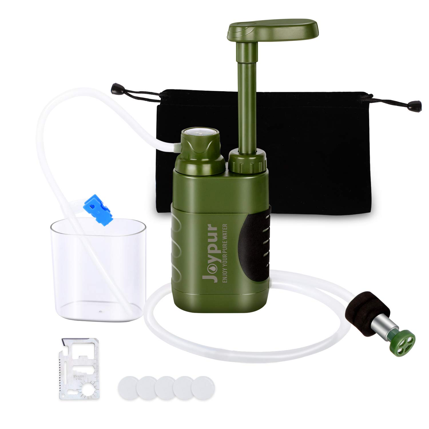 Joypur Portable Outdoor Water Purifier Camping 0.01 Micron Emergency Backpacking Water Filter for Hiking with 3-Stage Filter Pump