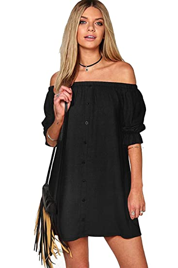 17faf430f9932 ZMvise Women Girl Summer Dress Backless Solid One-Piece Off Shoulder  Sleeveless Loose Cotton Skirt