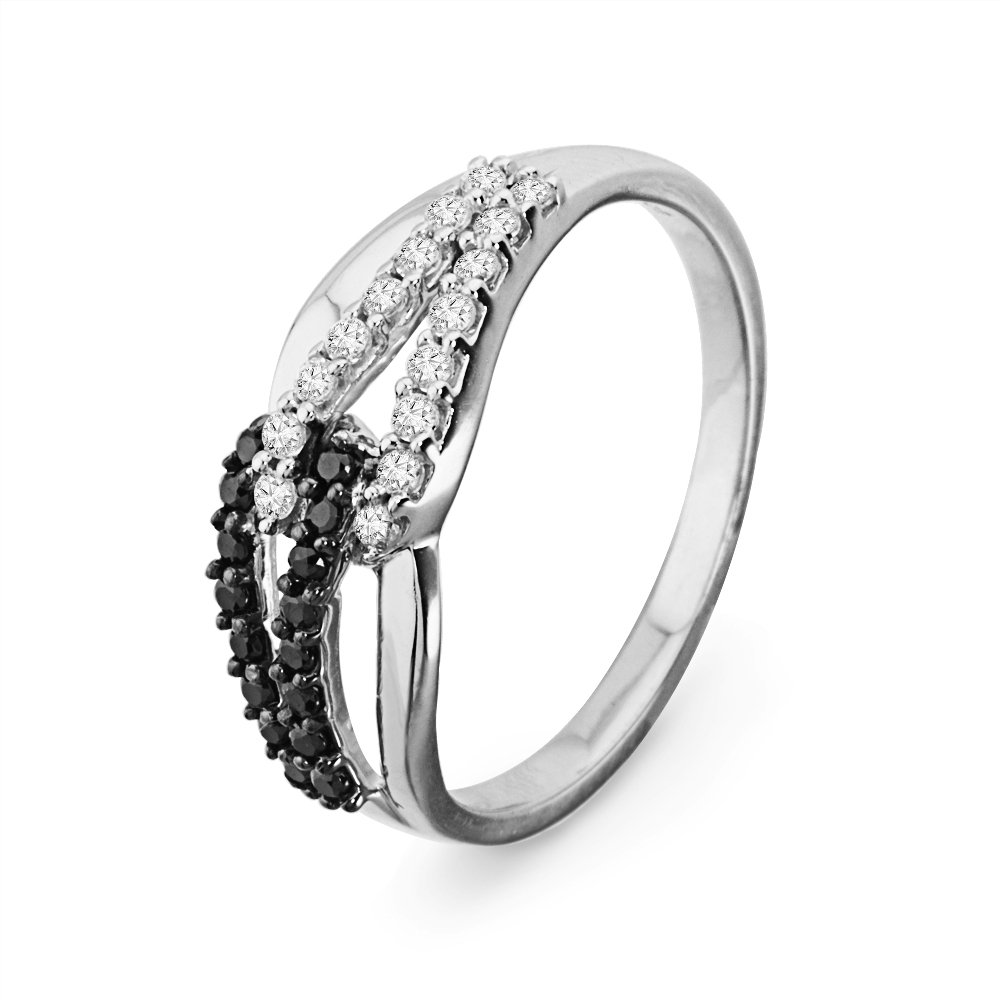Sterling Silver Round Diamond Black and White Knot Fashion Ring (1/4 cttw)