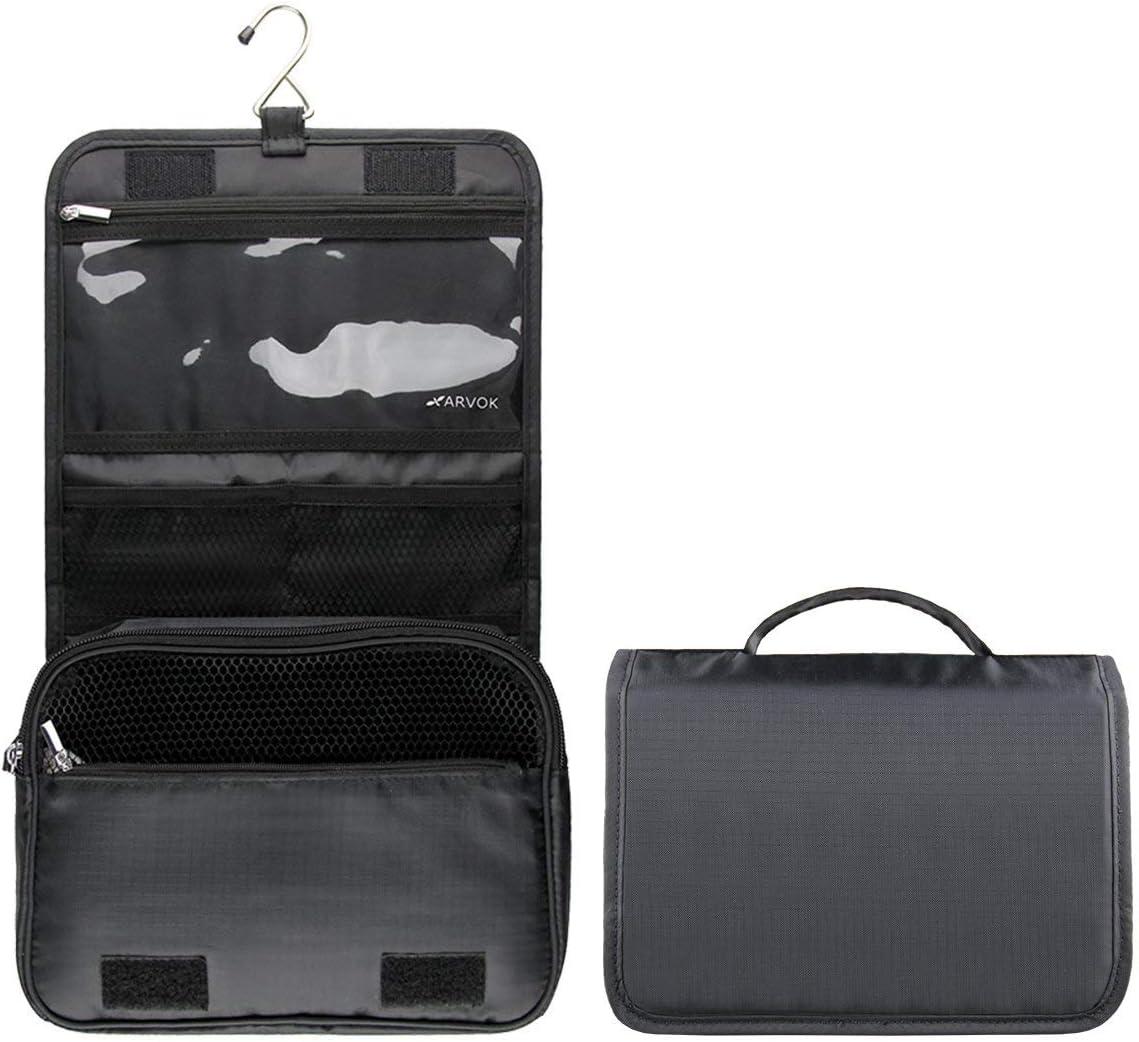 Sac Voyage Portable avec Suspendre M/étallique et Compartiment Multifonctionnel pour Hommes et Femmes Arvok Trousses de Toilette Noir