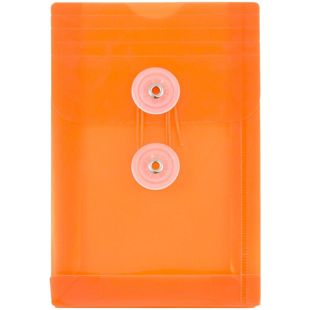 JAM PAPER Plastic Envelopes with Button & String Tie Closure - 4 1/4 x 6 1/4 - Orange - 12/Pack