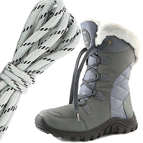 55da31b10aa9c Dailyshoes Confort Des Femmes Bout Rond Mi-mollet Randonnée En Plein Air  Cheville Haut Esquimau
