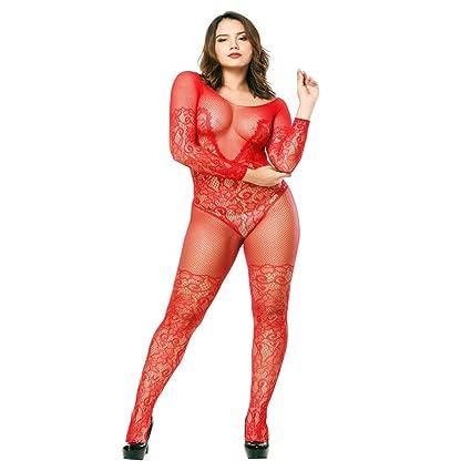 b4226305169 Amazon.com  Livoty Women s Lingerie Lace Babydoll Fishnet Body Stockings  Sleepwear Adult Bodysuit Nightwear Gift for Couples (Free Size
