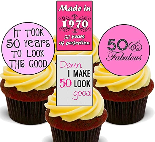 Amazing Made4You 50Th Birthday Female Funny Edible Cupcake Toppers Funny Birthday Cards Online Alyptdamsfinfo