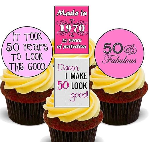 Decoración comestible para tarta de 50 cumpleaños para mujer, Pack de 24