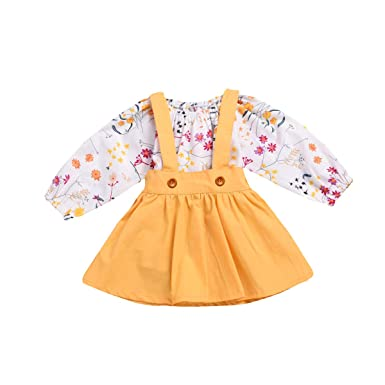 5d30c9f942dfc Baby Girls Easter Dress Newborn Girls Summer Clothes Infant Suspenders Long  Sleeve Floral Bodysuit + Golden Skirt Outfit Set