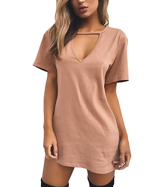 7a7e360177 Saoye Fashion Vestidos Mujer Verano Elegantes Basicas Cortos Vestido De  Camisetas Manga Corta V Cuello Anchas Color Sólido Vestidos Casuales   Amazon.es  ...