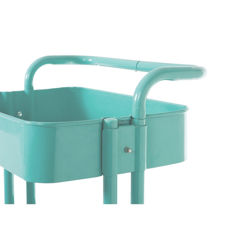 hollyhome 3-Tier Metal Utilidad Servicio carro con ruedas carro de utilidad de almacenamiento de estantes de almacenamiento con asas, color azul: Amazon.es: ...