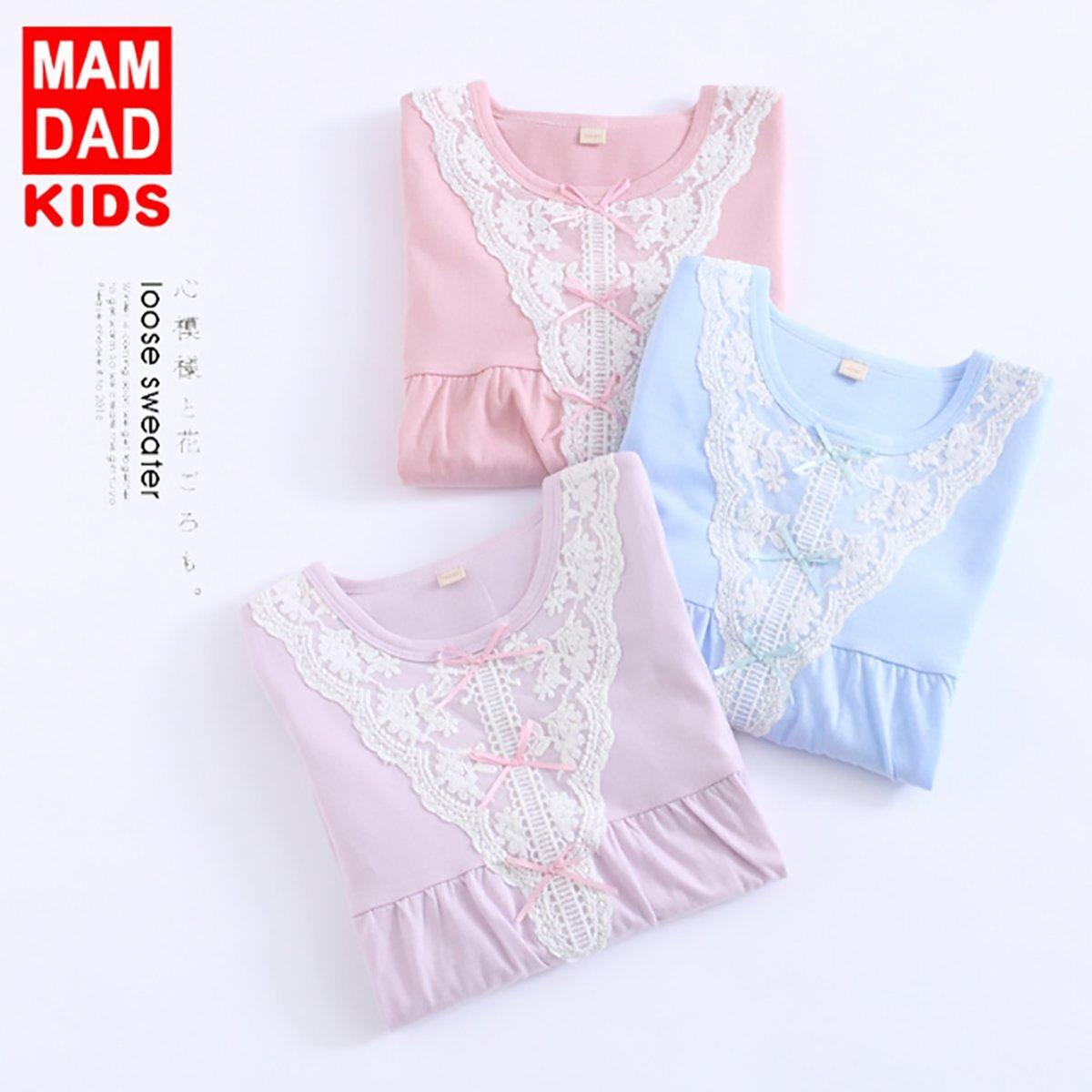 DGAGA Kids Girls Cotton Lace Nightgown Bowknot Sleepwear Solid Pajama Nightshirt