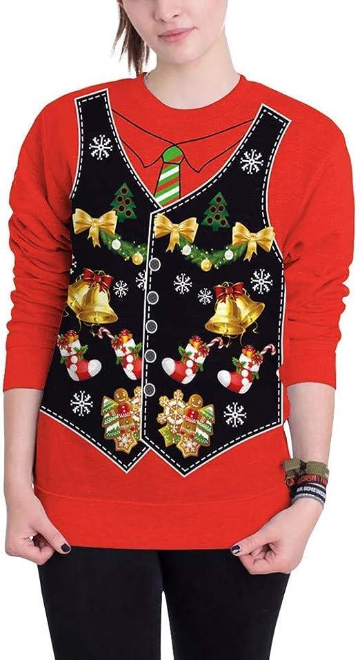 Huixin Jersey Mujer Mujer O Cuello Navidad Impresión Digital ...