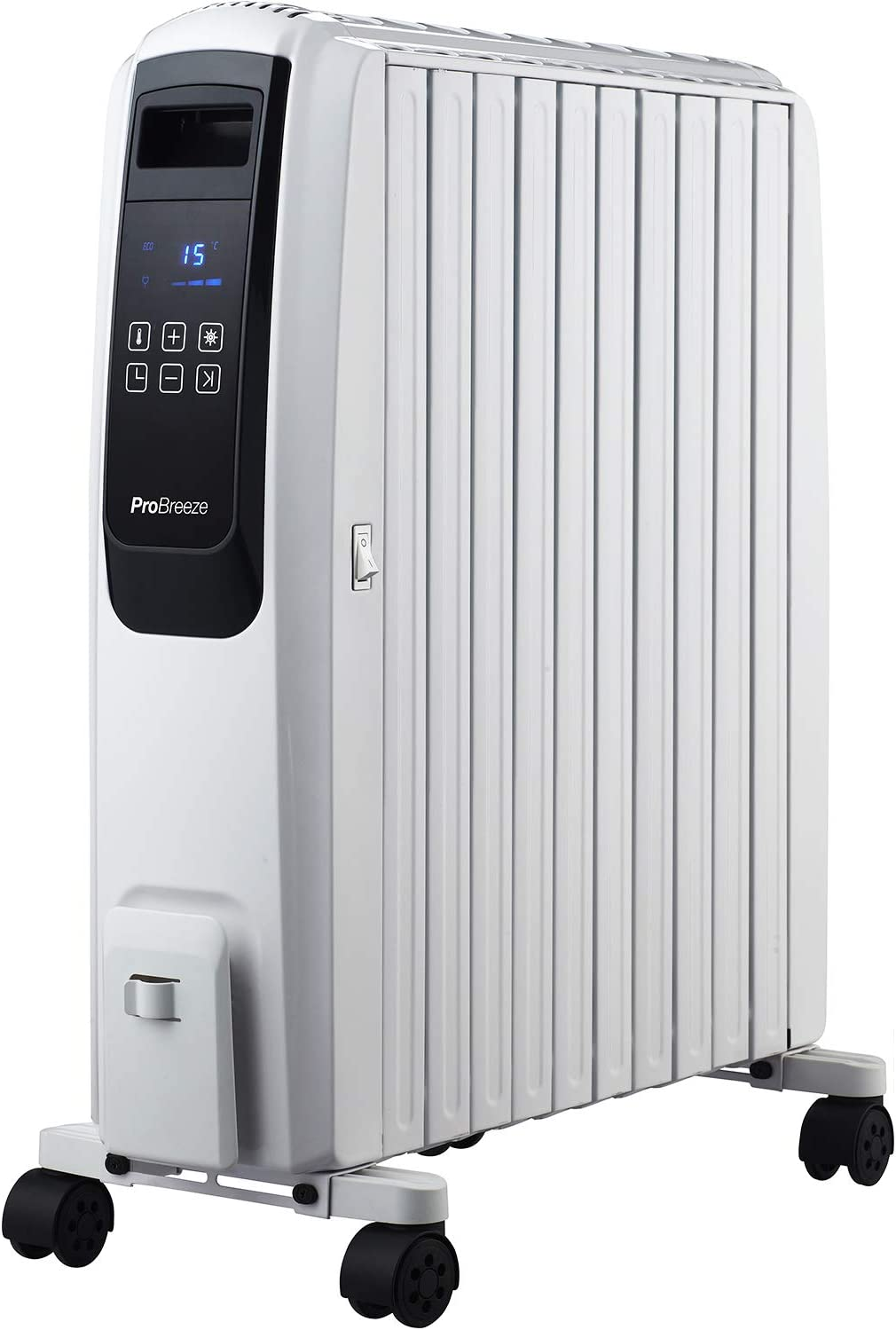 Pro Breeze 2500W Digital Oil Filled Radiator, 10 Fin – Portable Electric Heater with LED Display, Built-in Timer, 4 Heat Settings, Thermostat, Safety Cut-Off and Remote Control