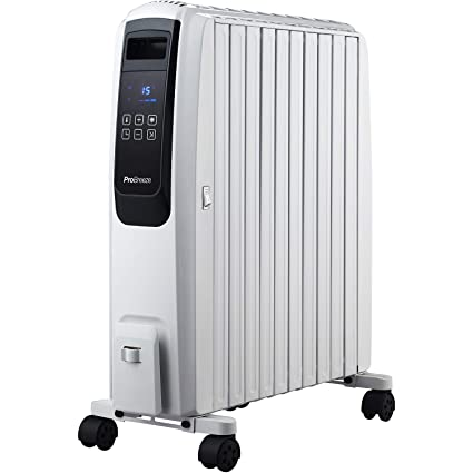 Pro Breeze Digital Radiador de Aceite 2500 W, con 10 Elementos, Temporizador Integrado,