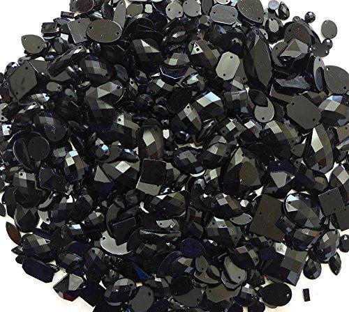 LOVEKITTY 350 pcs lot - Sew-On Gems Black --Mixed Shapes Flat Back Gems (Mixed sizes 3mm -- 40mm Has thread holes) by lovekitty