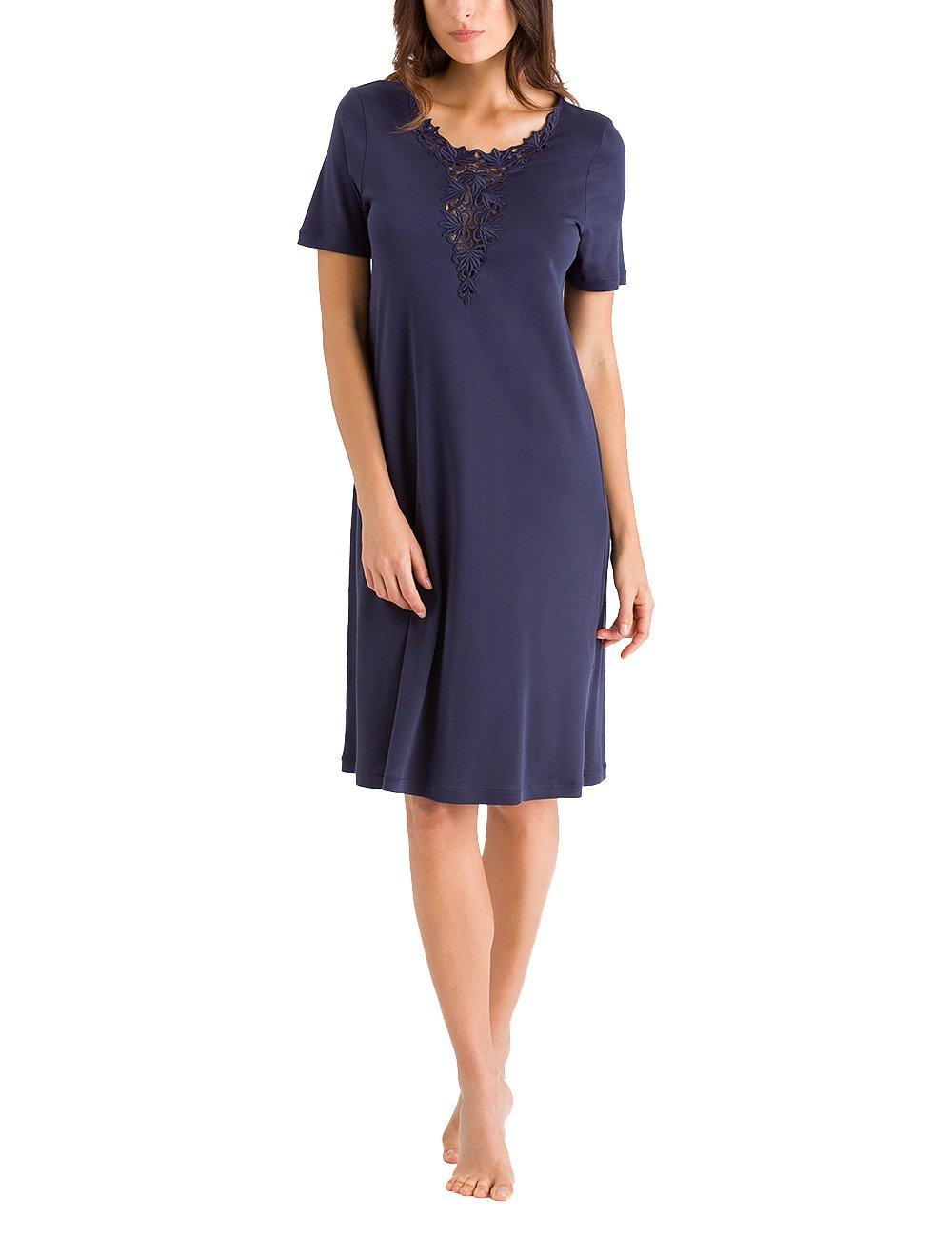 HANRO Women's Jasmin Short Sleeve Gown, Crown Blue, Small