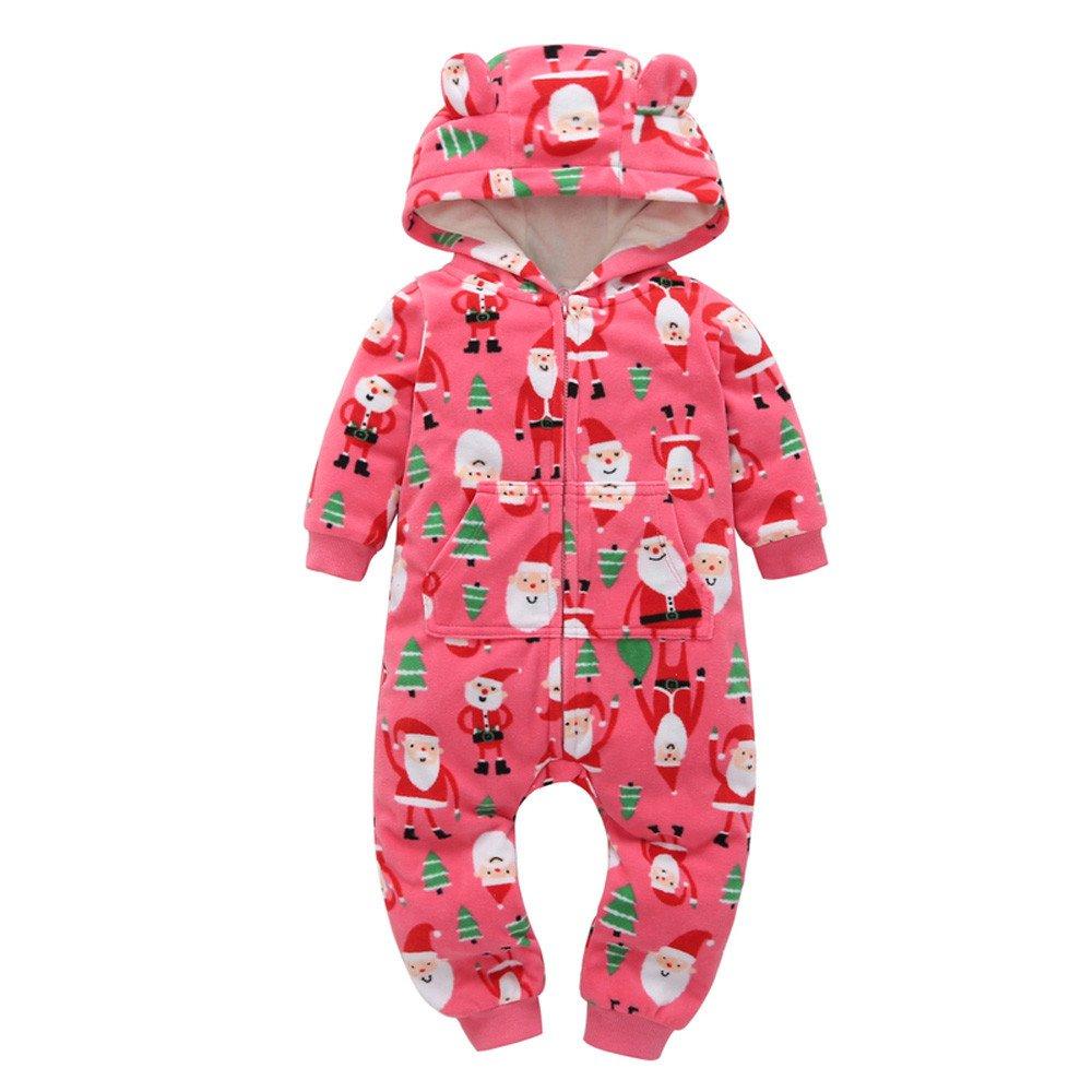 Sameno Christmas Baby Boys Girls Thicker Print Hooded Romper Jumpsuit Pajamas
