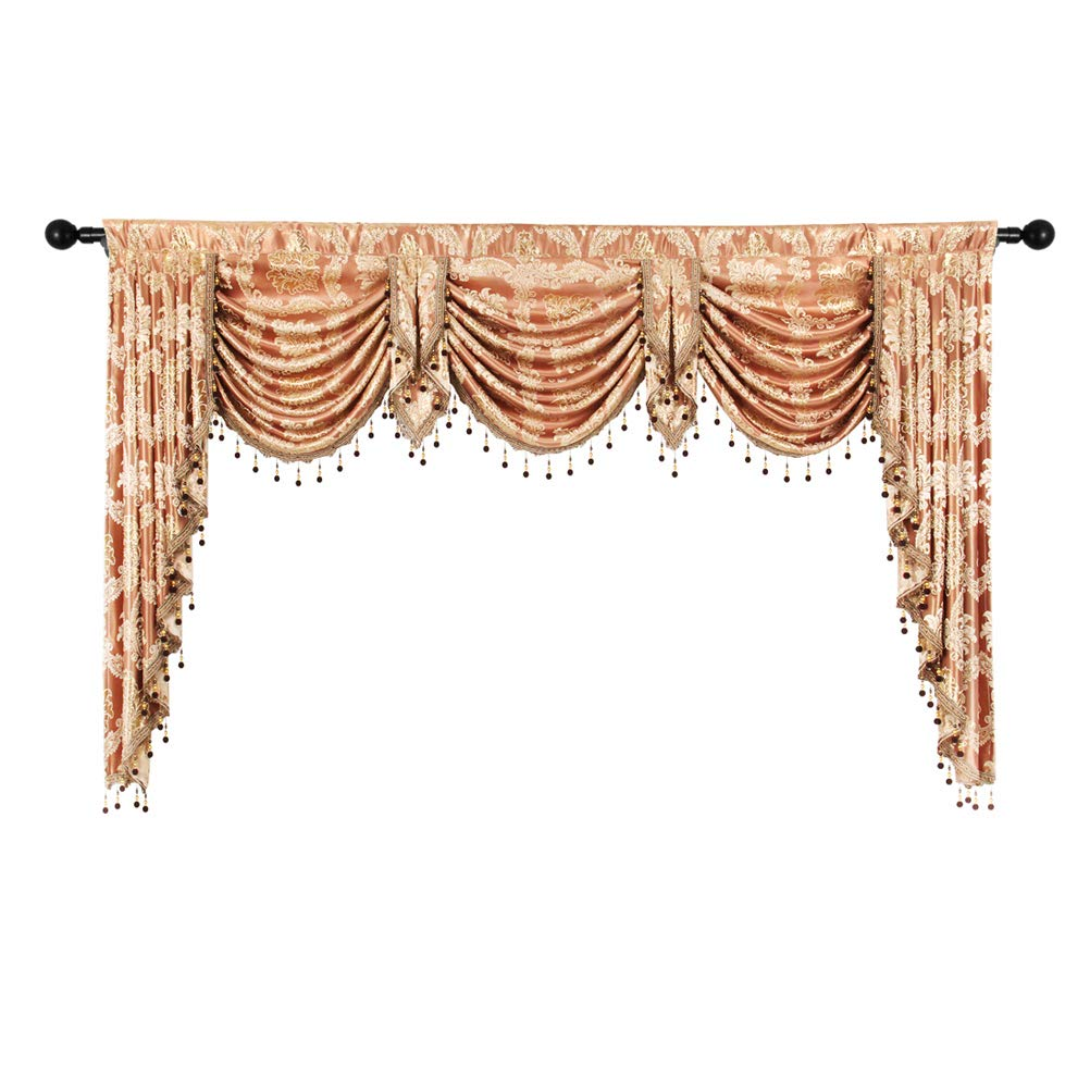 elkca Golden Jacquard Swag Waterfall Valance Luxury Curtain Valance for Living Room (Damask-Coffee, W79 Inch, 1 Panel) by ELKCA