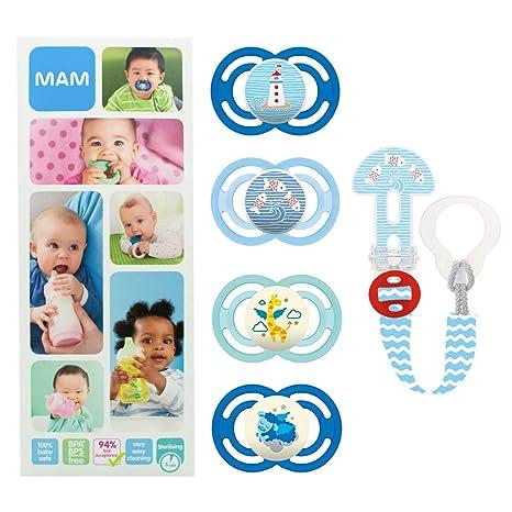 MAM Premium Soothing Set, juego de regalos para bebés de +6 meses, incluye 2 chupetes de silicona Perfect +6, 2 chupetes Perfect Night +6 y ...