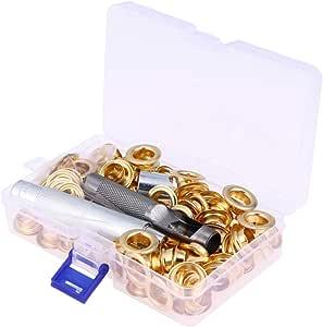Yardwe Kit De Arandelas De Metal De 100 Piezas Conjunto De Botones De Ojal Para Herramientas De Arandela Con Caja De Almacenamiento: Amazon.es: Hogar