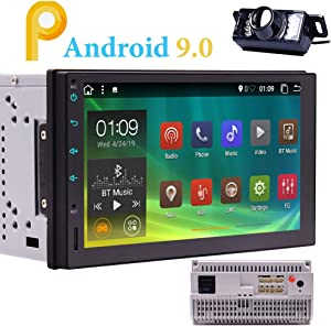 Android 9.0 Car Radio Bluetooth Double 2 Din Car Stereo with Backup Camera Standard in Dash 7 inch Capacitive Touch Screen 2Din Head Unit Support GPS WiF 4G USB SD Mirror Link Steering Wheel Control