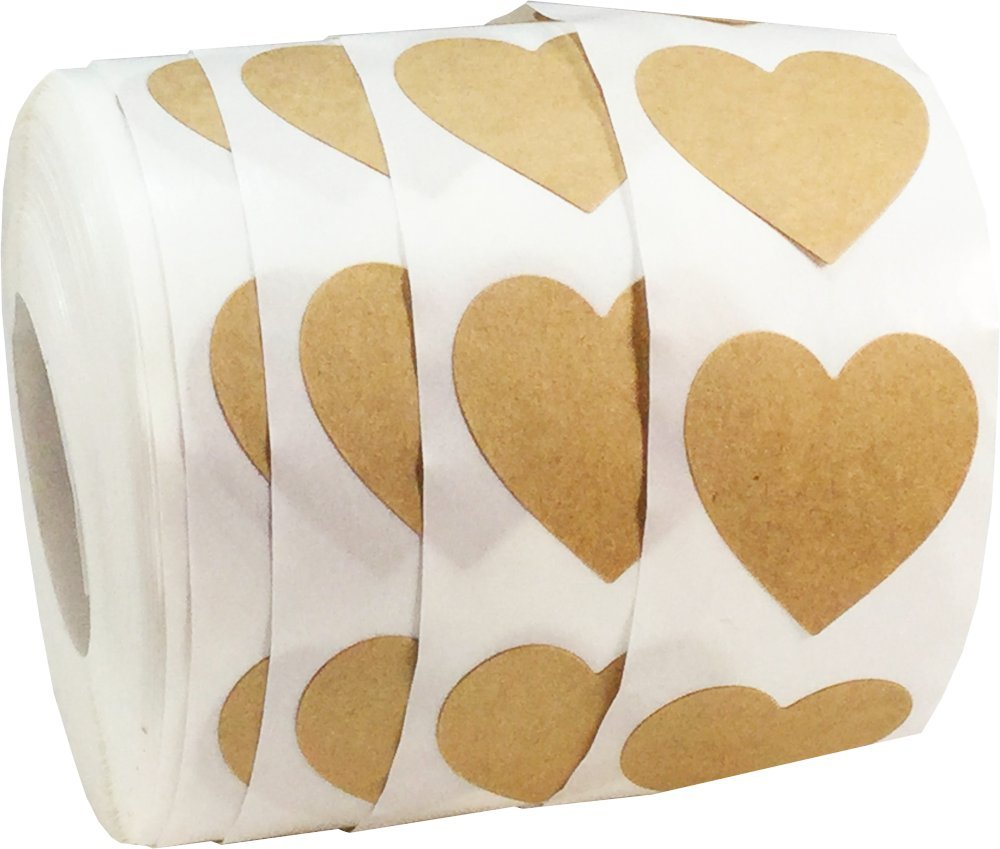Pink Heart Stickers 25 mm 1 Inch Wide 500 Labels on a Roll