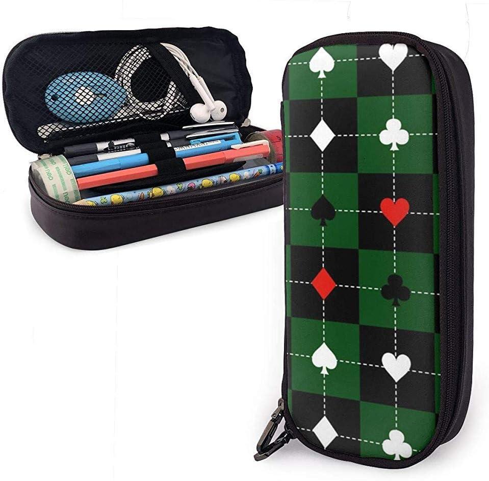 Trajes de cartas Verde Tablero de ajedrez Negro Estuche de cuero, Estuche para bolsa de lápices Estuche estacionario: Amazon.es: Oficina y papelería