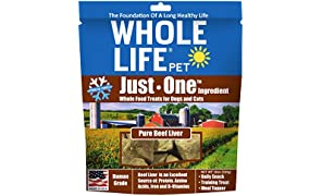 Whole Life Pet Pure Meat All Natural Freeze Dried Beef Liver Treats For Dogs And Cats, 10-Ounce