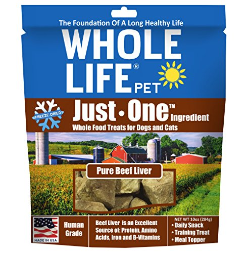 Pure Beef - Whole Life Pet Pure Meat All Natural Freeze Dried Beef Liver Treats for Dogs and Cats, 10-Ounce