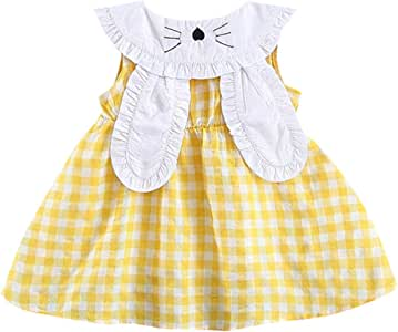 Infant Kids Baby Girl Plaid Dresses 3-6 Months, Green Cute A-Line Tutu Skirt Outfits Toddler Doll Collar Sleeveless Dress with Rabbit Ears