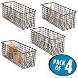 mDesign Wire Basket - Flexible Wire Storage Baskets - Compact Wire Bin with Handles - Pack of 4 - Multi-Purpose Metal Basket - Bronze