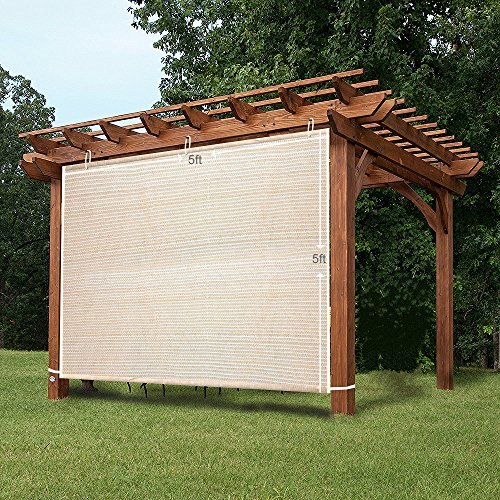 Shatex Garden Shade Fabric Adjustable Vertical Side Wall Panel for Patio/Pergola/Window 6x5ft Wheat - Exterior Sunscreen