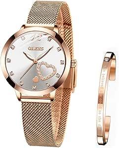 Reloj de Mujer Acero Inoxidable Impermeable Analogico Cuarzo Reloj Regalo Cumpleaños Mujer