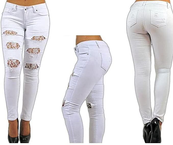 4d231eb7435 Pasion Womens White Denim Jeans Stretch Skinny Ripped W Lace Distressed  Pants (3)