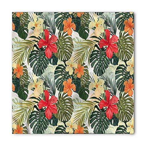 Leaf Bandana by Lunarable, Hawaiian Summer Tropical Island Vegetation Leaves with Hibiscus Flowers, Printed Unisex Bandana Head and Neck Tie Scarf Headband, 22 X 22 Inches, Green Orange and (Hawaiian Bandana)