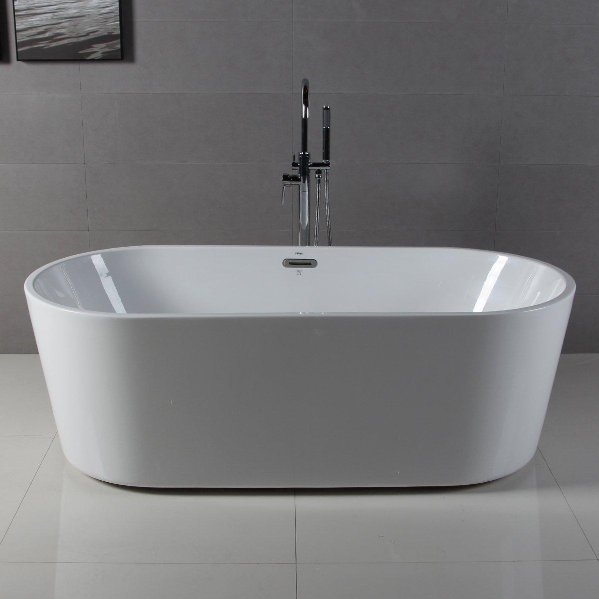 FerdY 59\'\' Acrylic Stand Alone Bathtub, White Modern Freestanding ...