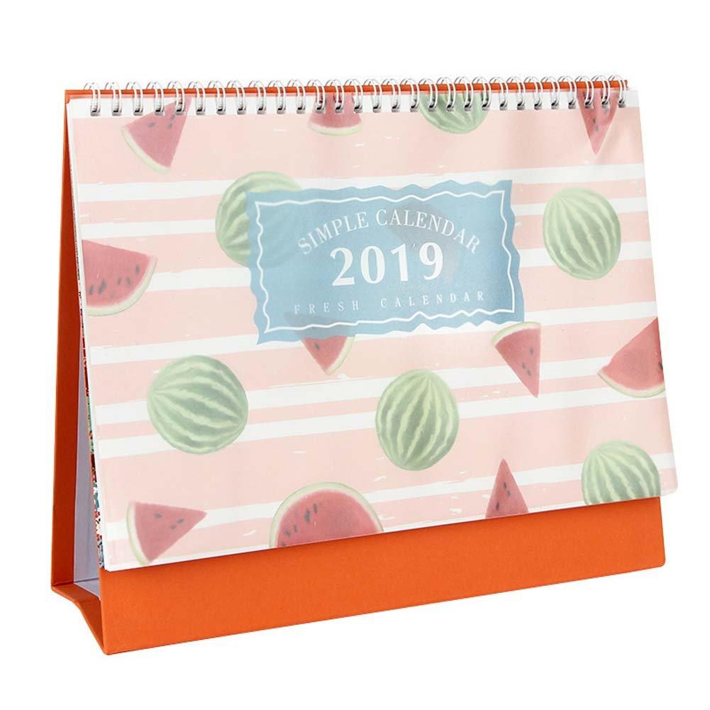 ANJUY Fruit Pattern Calendars,July 2018 - December 2019,Small Desk Calendars for School Office Supplies,Mini Watermelon,Pack of 2