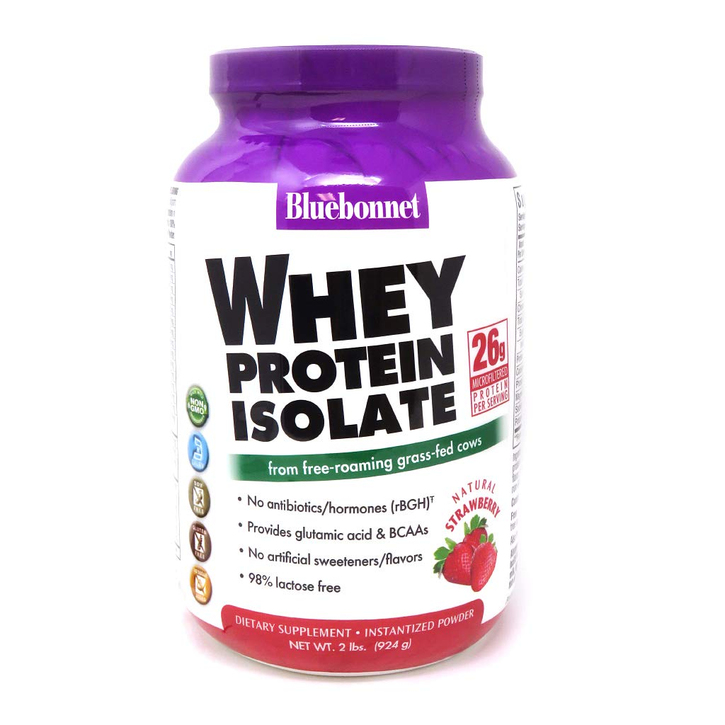 Bluebonnet Nutrition Whey Protein Isolate Powder, Whey From Grass Fed Cows, 26g of Protein, No Sugar Added, Non GMO, Gluten Free, Soy free, kosher Dairy, 2 Lbs, 28 Servings, Strawberry Flavor by Bluebonnet