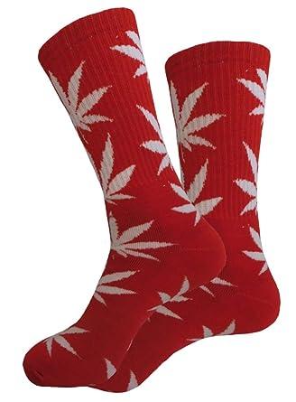 Calcetines Weed marihuana diseño rojo con hojas, color blanco