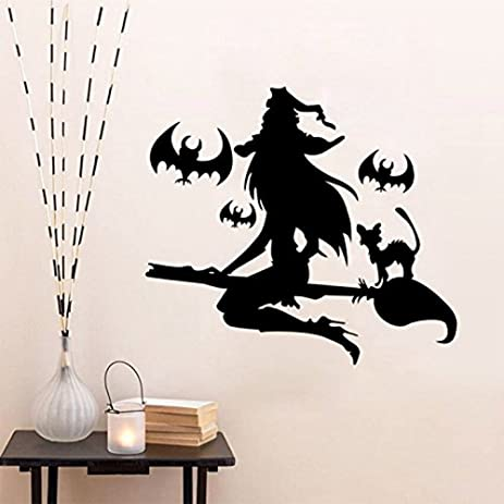 Amazon.com: ML_Victor Happy Halloween Young Beautiful Witch and Bats ...
