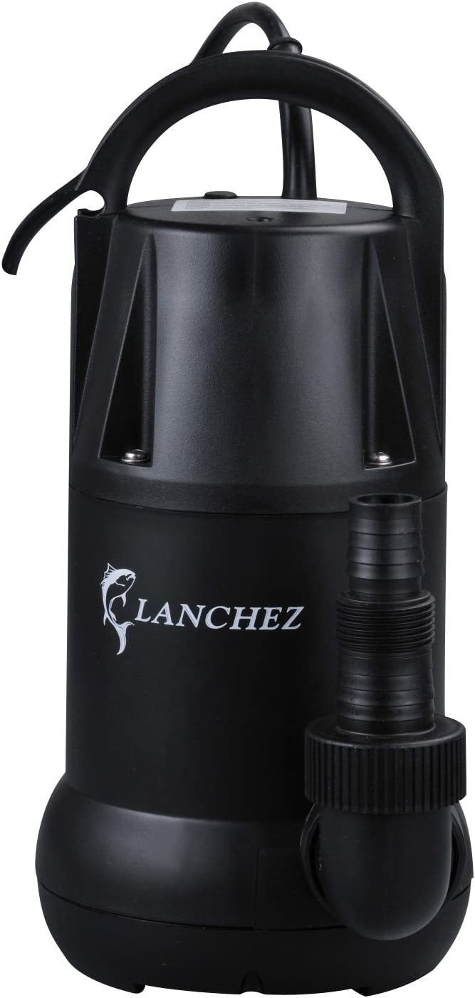 Lanchez Q4003 1/4 HP Multi-Purpose Electric Thermoplastic Submersible Utility Water Pump for Quick Water Draining Transfer