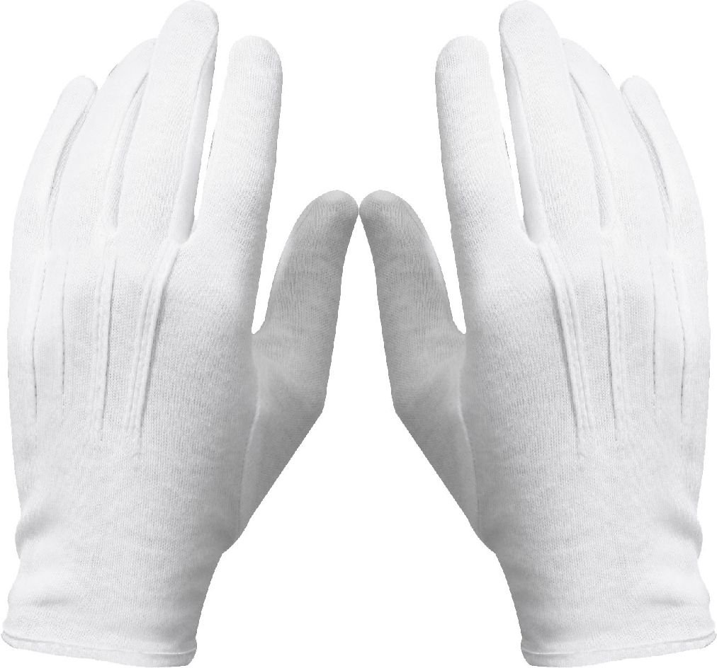 12 PACK - White or Black Cotton Military Uniform Dress Parade Gloves with Snaps