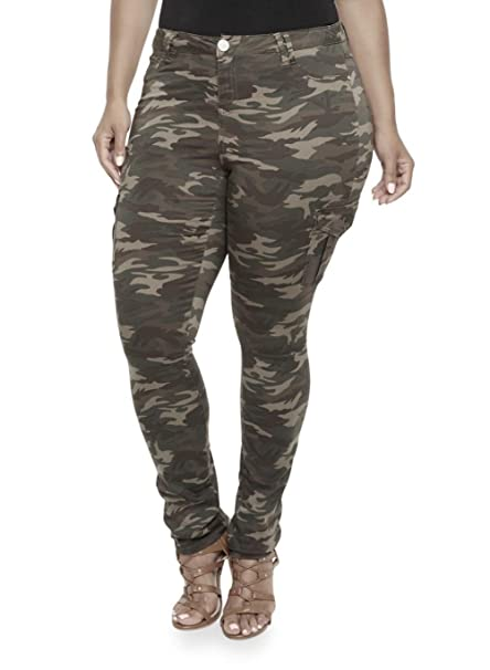 f18a59e7d22 Amazon.com  IQ WOMENS PLUS SIZE Stretch Distressed Ripped Camo Camouflage  Skinny JEANS PANTS (14-plus