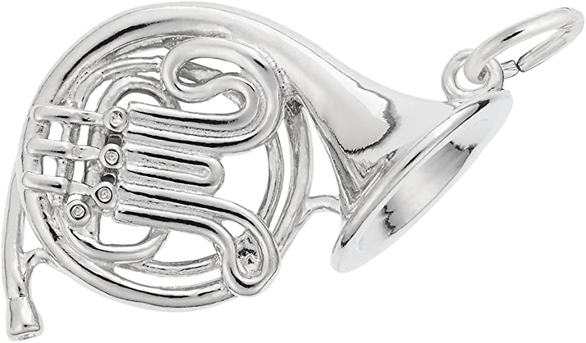 Details about  /New Real Solid 14K Gold 3D French Horn Charm