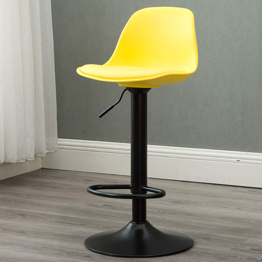 Yellow Modern Swivel Barstools, Height-Adjustable Chair High Stool with Backs Pub Chair Plastic Filled Cotton Counter Bar Stool Chair for Bar Office Home-Yellow