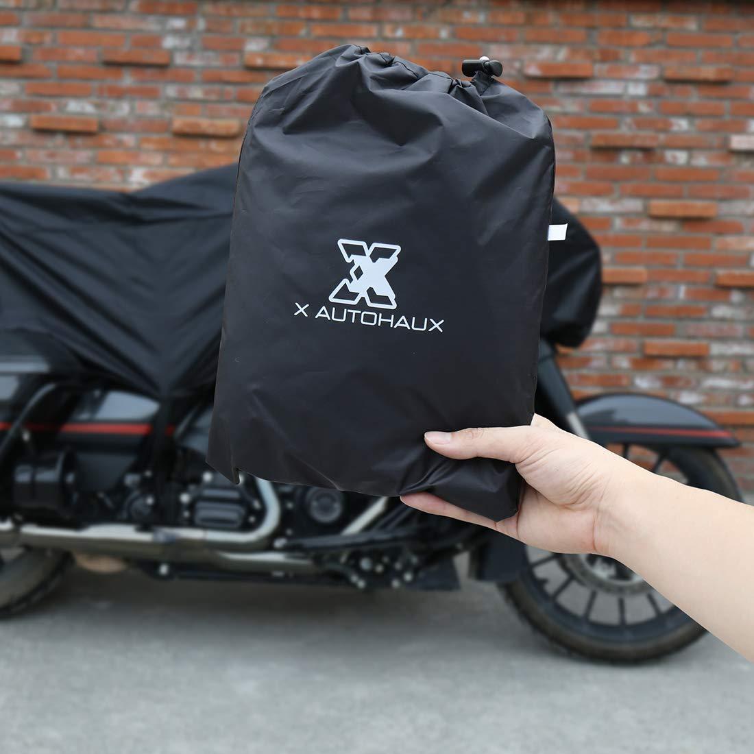 X AUTOHAUX L Black Motorcycle Half Cover Outdoor Waterproof Rain Dust UV Protector