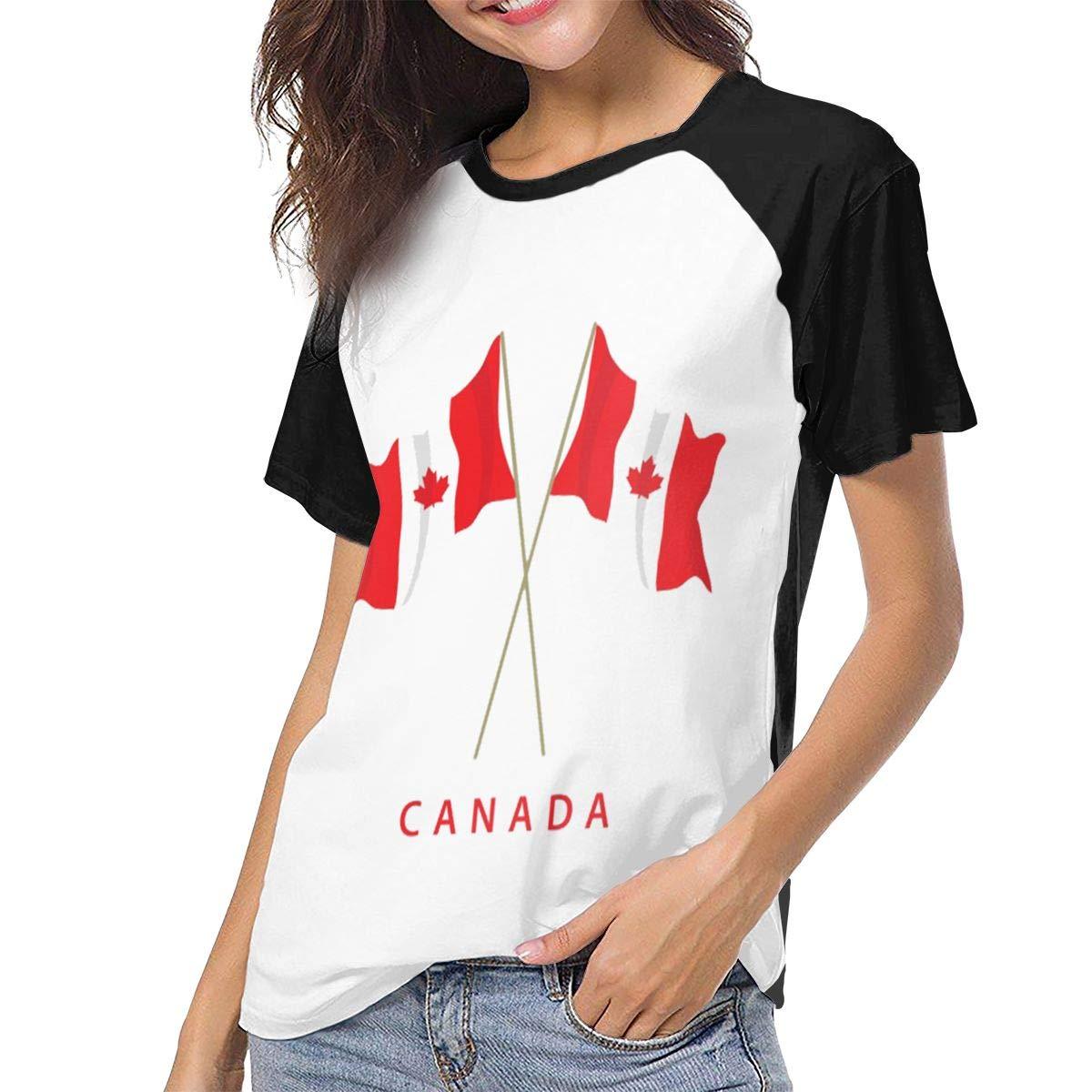 QWXZC Canadian Maple Leaf Womens Short Sleeves Baseball Tee Casual Raglan Shirt Baseball Raglan T-Shirt.Black.