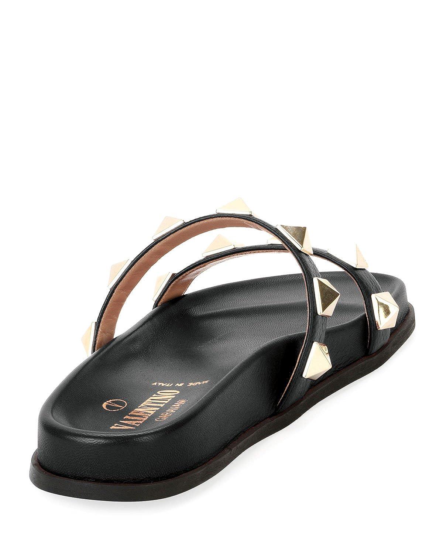 7c6217fbcf76 Amazon.com  Valentino Garavani Rockstud Flat Leather Slide Sandals 36 Black   Shoes
