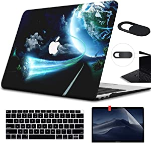 Funut MacBook 2016 2017 2018 2019 Release Pro 13 Inch Case A1706 A1708 A1989 A2159 Bundle 4 in 1 Hard Plastic Protective Laptop Case with Screen Protector Keyboard Cover Webcam Cover, Earth