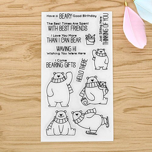 GUAngqi Store Silicone Transparent Stamp Seal English Art Words DIY Scrapbooking Photo Album Craft Paper Card Diary Making Handbook Decorative,Scarf polar bear (scarf bear),2011cm (Book Album Acrylic Word)