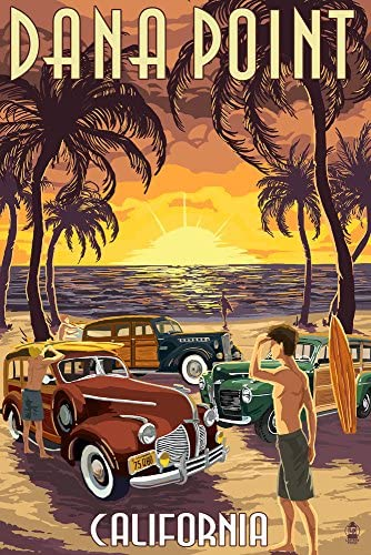 Dana Point、カリフォルニア – Woodies on the beach 36 x 54 Giclee Print LANT-46362-36x54