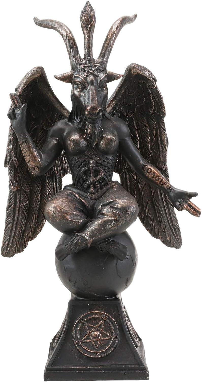 "Ebros Gift Church of Satan Sabbatic Goat Idol Baphomet Resin Statue Satanic Occultic Illuminati The Horned God Goat of Mendes Altar Sculpture Figurine (6.5"" Tall Bronze Patina)"